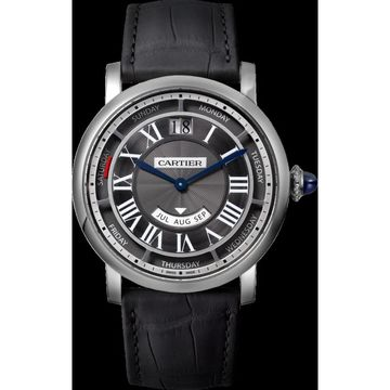 Cartier Men's WHRO0003 'Rotonde De Cartier' Black Leather Watch