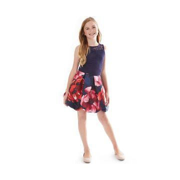 Big Girls Lace Top & Floral-Print Bubble Skirt Set