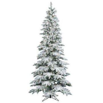 Vickerman Pre-Lit 7.5' Flocked Slim Utica Artificial Christmas Tree