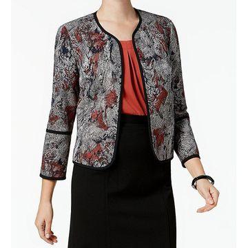 Kasper Orange Womens Jacquard Open-Front Jacket