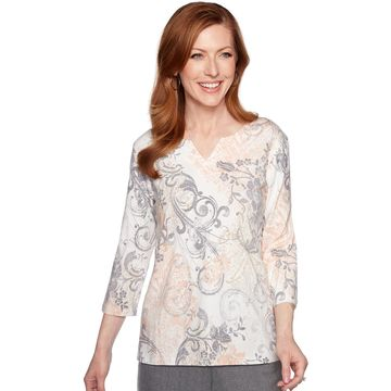 Petite Alfred Dunner Scroll Knit Top