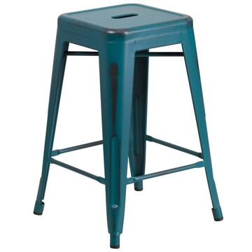 Flash Furniture Kelly Blue-teal Counter Height Bar Stool Rubber