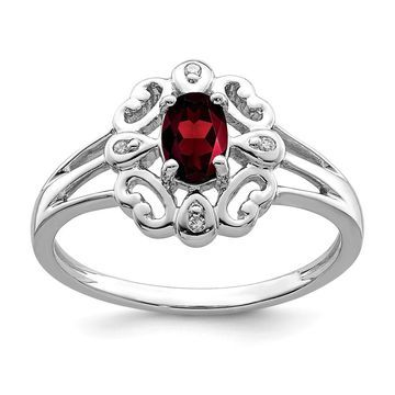 Sterling Silver Rhodium-plated Diamond and Garnet Oval Ring by Versil (6)