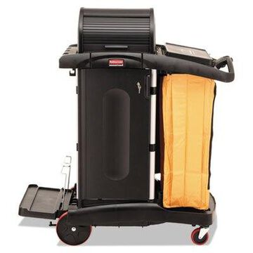 High-Security Healthcare Cleaning Cart, 22w x 48.25d x 53.5h, Black 9T7500BK