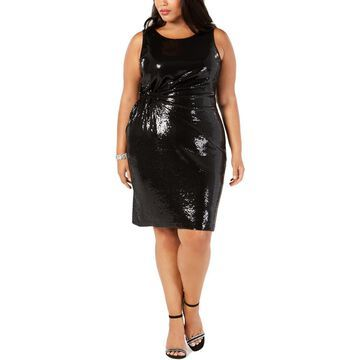 Taylor Womens Plus Sleeveless Sequined Cocktail Dress