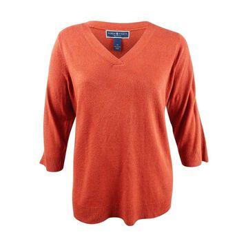 Karen Scott Women's Plus Size Luxsoft V-Neck Sweater (2X, Red Ochre) - Red Ochre - 2X