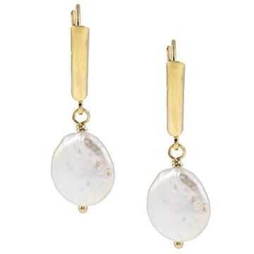 DaVonna 14k Gold over Silver 9-10mm White freshwater Coin Pearl Earrings