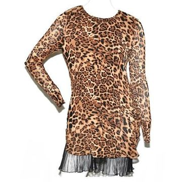 Masseys Women's Leopard Print Pleated Tunic in Brown - XL