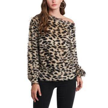 1.state One-Shoulder Leopard-Print Top