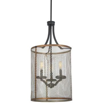 Minka Lavery Marsden Commons Smoked Iron with Aged Gold Transitional Seeded Glass Drum Medium (10-22-in) Pendant Light | 4693-107