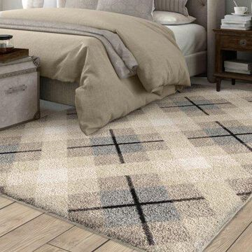 Orian Rugs Super Shag Criss Cross Plaid Ivory Area Rug