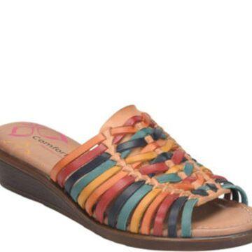 Comfortiva Womens Felida Leather Open Toe Casual Slide Sandals