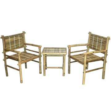 Bamboo54 3-Piece Bamboo Arm Chairs with Side Table Set