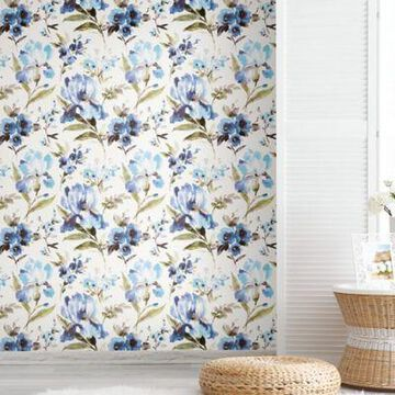 Roommates Iris Vinyl Peel & Stick Wallpaper in Blue