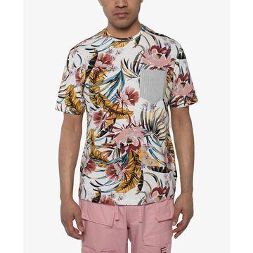 Men's Floral-Print Pocket T-Shirt