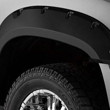 2012 Chevy Avalanche Bushwacker Pocket Style Fender Flares in Smooth Black, Front Set (2 Piece)
