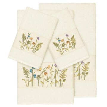 Authentic Hotel and Spa Cream Turkish Cotton Wildflowers Embroidered 4 piece Towel Set