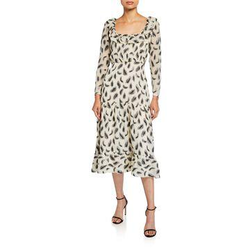 Misha Printed Long-Sleeve Dress