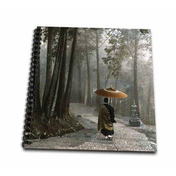 3dRose Japanese Zen Buddhist Monk Walking Down Steps in a Light Rain - Memory Book, 12 by 12-inch