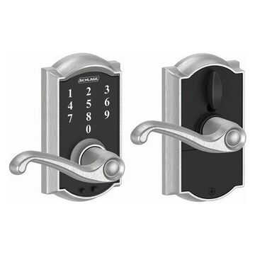 Schlage FE695-CAM-FLA Camelot Touch Entry Leverset, Satin Chrome