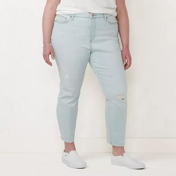 Plus Size LC Lauren Conrad Frayed-Hem High Rise Skinny Jeans, Women's, Size: 18 W, Light Blue