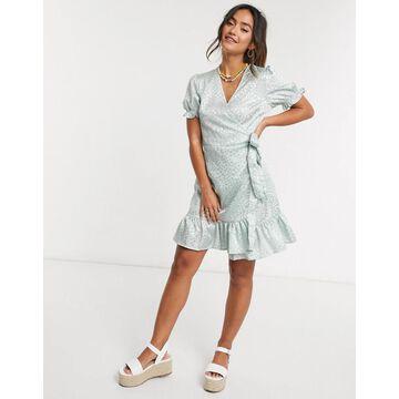 QED London wrap front satin jacquard mini dress in mint-Green