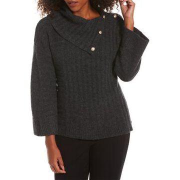 Rafaella Women's Petite Split Drape Neck Sweater - -
