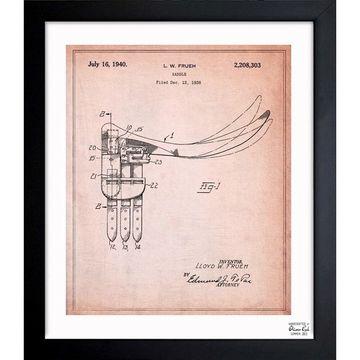 Oliver Gal 'Saddle 1940' Framed Blueprint Art