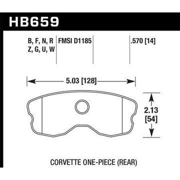 Hawk 06-10 Chevy Corvette (Improved Pad Design) Rear Performance Ceramic Sreet Brake Pads