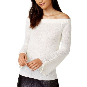 Minkpink Womens Pullover Sweater Sheer Off-The-Shoulder