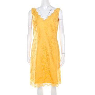 ML By Monique Lhuillier Yellow Floral Lace Scalloped Trim Detail V-Neck Dress M