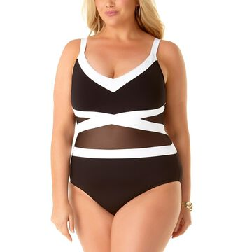 Anne Cole Women's One Piece Swimsuits BKWH - Black & White Color Block Mesh One-Piece - Plus