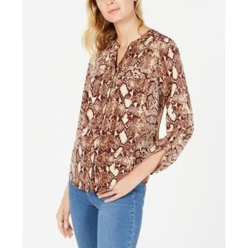 Ny Collection Petite Animal-Print Utility Shirt