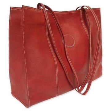 Piel Leather Carry-All Market Bag in Red