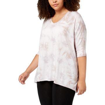 Calvin Klein Performance Womens Plus Modal Blend Tie-Dye T-Shirt