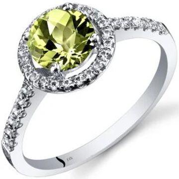 Oravo 14k White Gold Checkerboard Gemstone Halo Ring (1 ct Peridot Size 6)