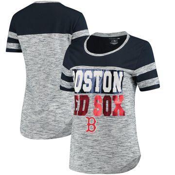 Women's 5th & Ocean by New Era Navy Boston Red Sox Space Dye Crew T-Shirt