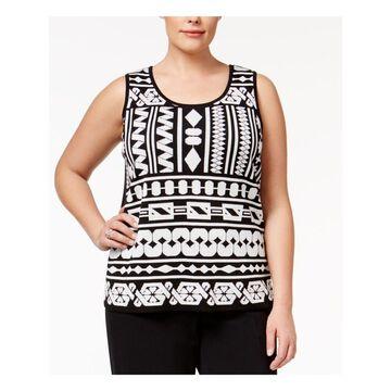 ANNE KLEIN Womens Black Geometric Sleeveless Scoop Neck Top Plus Size: 3X