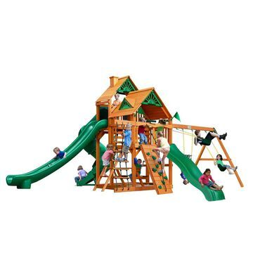 Gorilla Playsets Great Skye II Wooden Play Set with 3 Swing Set Slides