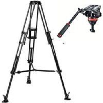 Manfrotto MVH502A Pro Video Head with 546B Aluminum Tripod Legs, Maximum Height 65&, Supports 15 lbs