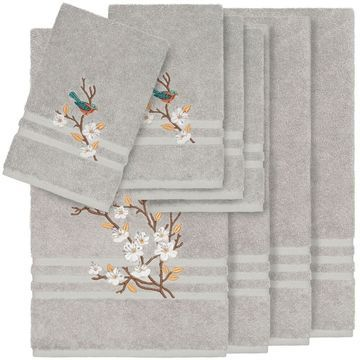 Authentic Hotel and Spa Turkish Cotton Blue Bird Embroidered Light Grey 8-piece Towel Set