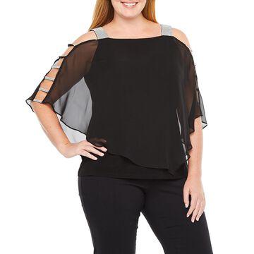 MSK Womens 3/4 Sleeve Embellished Cape Blouse-Plus