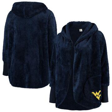 West Virginia Mountaineers ZooZatz Women's Plus Size Happiness Sherpa Hoodie Open Cardigan - Navy