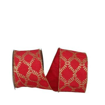 """JAM Paper Filigree Crest Dupione Wired Ribbon, 2.5"""" in Red/Gold   2.5"""" x 10yd   Michaels"""