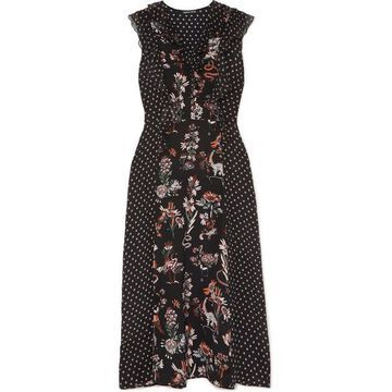 Markus Lupfer - Larissa Ruffle-trimmed Printed Silk Crepe De Chine Midi Dress - Black