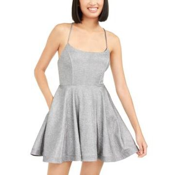 Speechless Juniors' Shimmer Lace-Back Dress