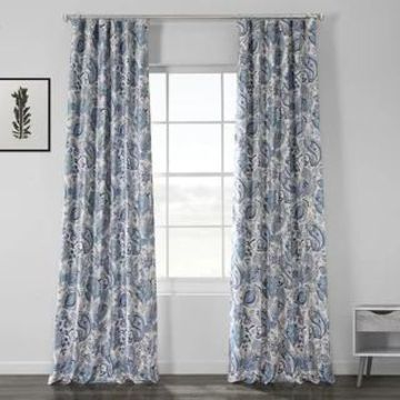 Exclusive Fabrics Fullbloom Blue Printed Linen Textured Blackout Curtain (50 X 108 - Fullbloom Blue)