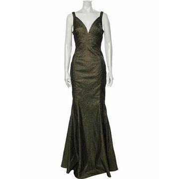 Plunge Neckline Long Dress w/ Tags Gold