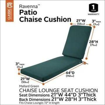 Classic Accessories Ravenna Water-Resistant 72 x 21 x 3 Inch Patio Chaise Lounge Cushion, Empire Blue (mallard green)