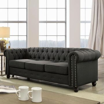 Furniture of America Kevi Traditional Tufted Chesterfield Sofa